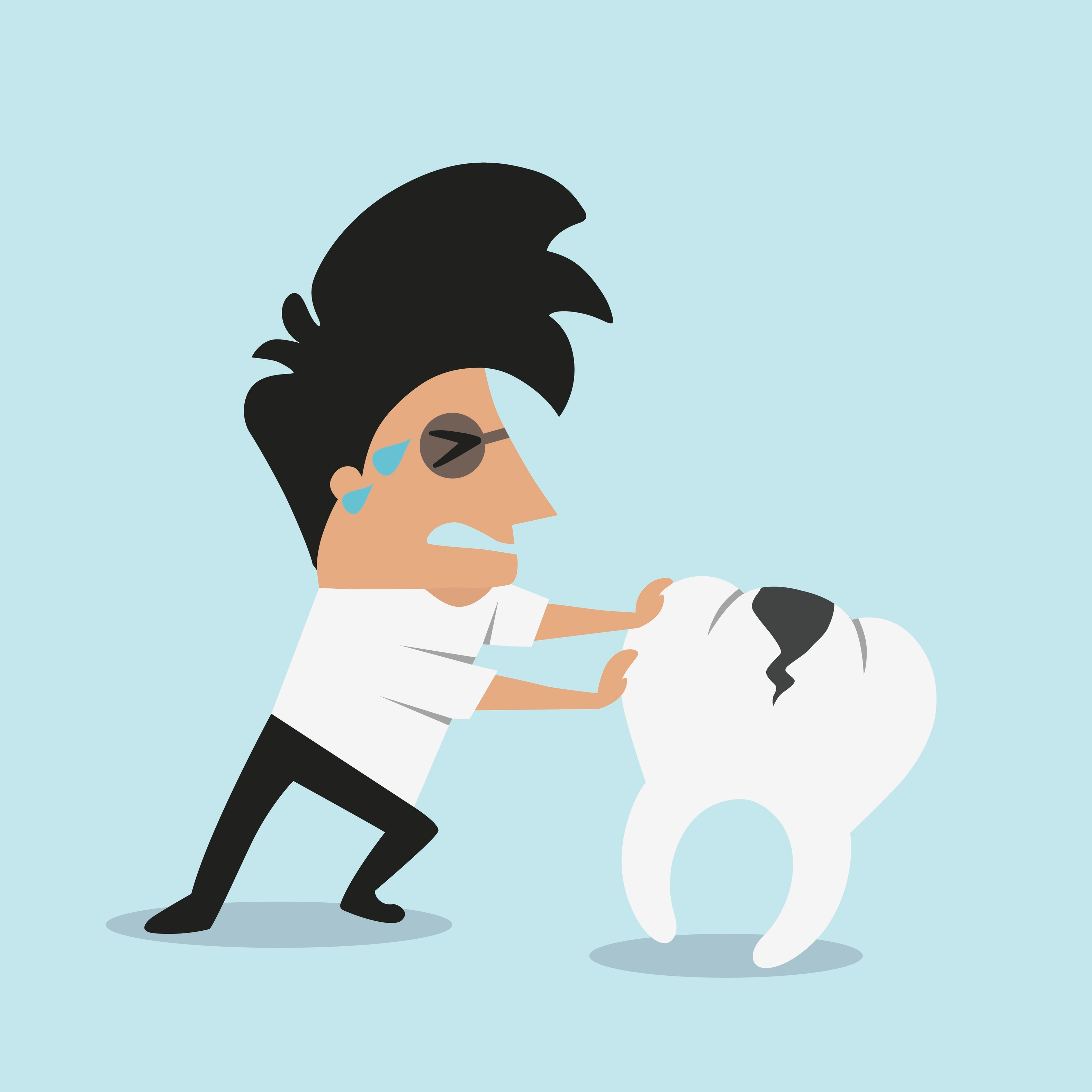 cartoon image of a guy pushing a tooth