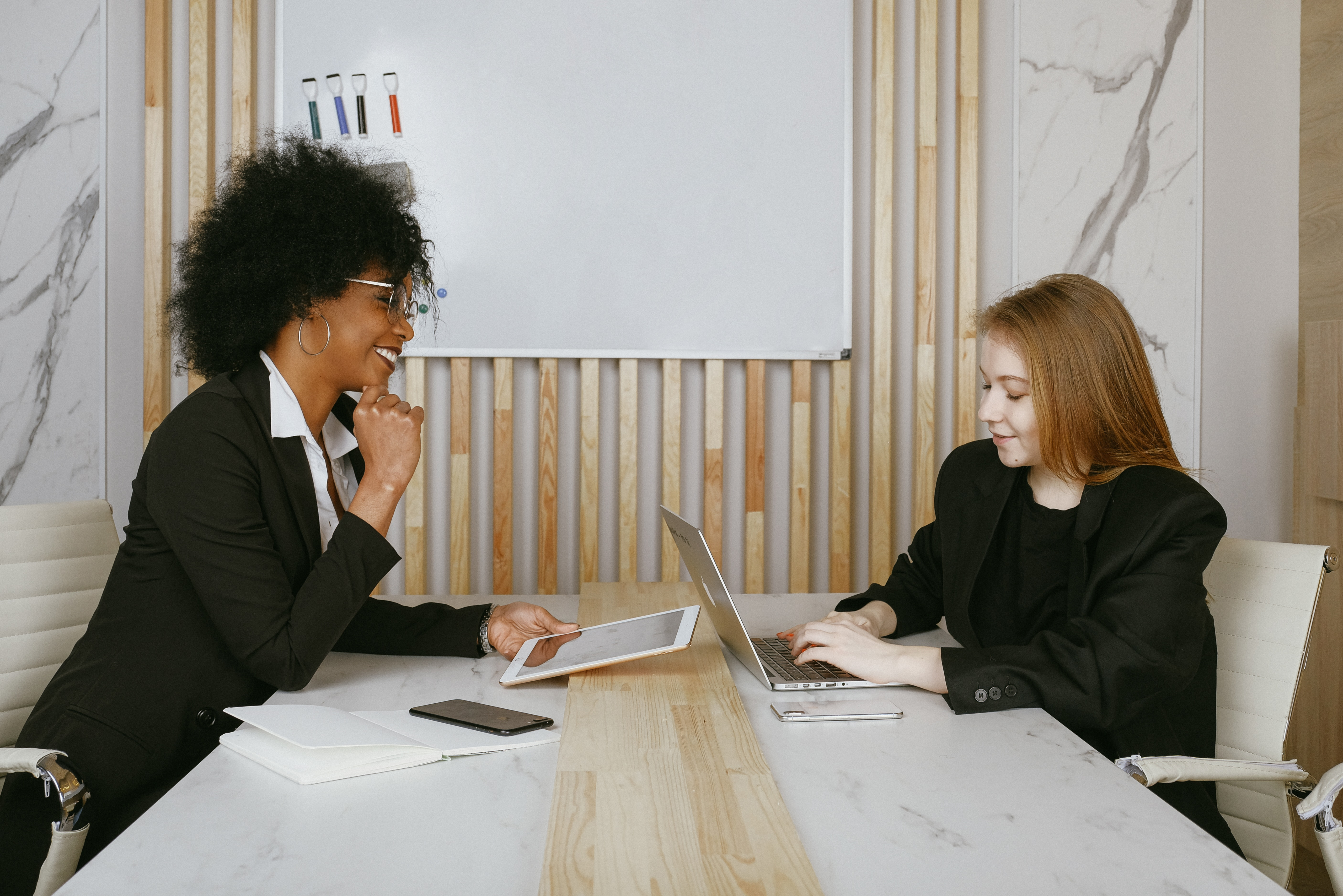 Two businesspeople meeting